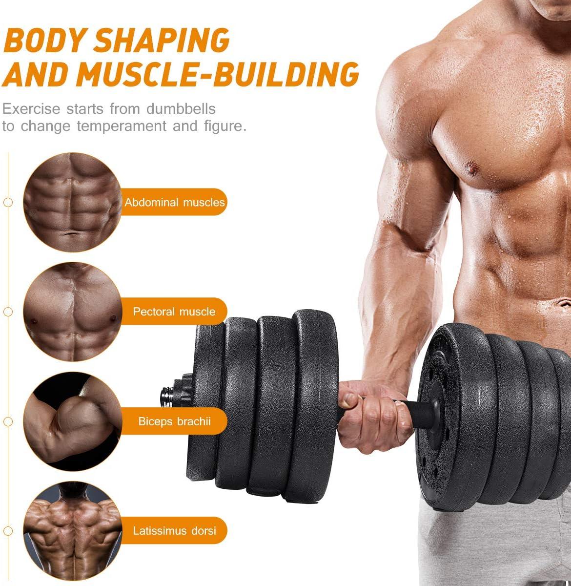 BESPORTBLE Dumbbells Set Durable Training Equipment 66LB Adjustable Weights Dumbbells Set for Bodybuilding Training