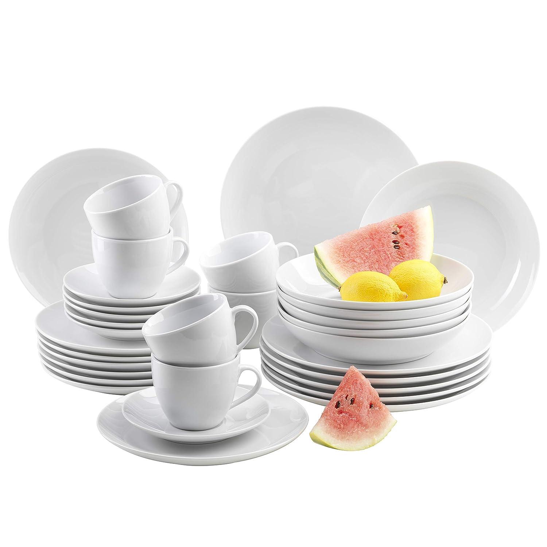 Platex 90040006402 Vestah 6 cm de di/ámetro Juego de 6 tazas y platos de melamina color blanco