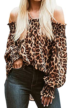 10fd70a48482bd Women s Sexy Leopard Off Shoulder Long Sleeve Loose Casual Blouse Tops  Shirt Size S(US