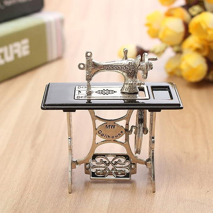 Amazon.com: cheerfullus Mini Vintage Sewing Machine,Miniature Dollhouse Furniture Dolls House Accessories Crafts Decoration: Toys & Games