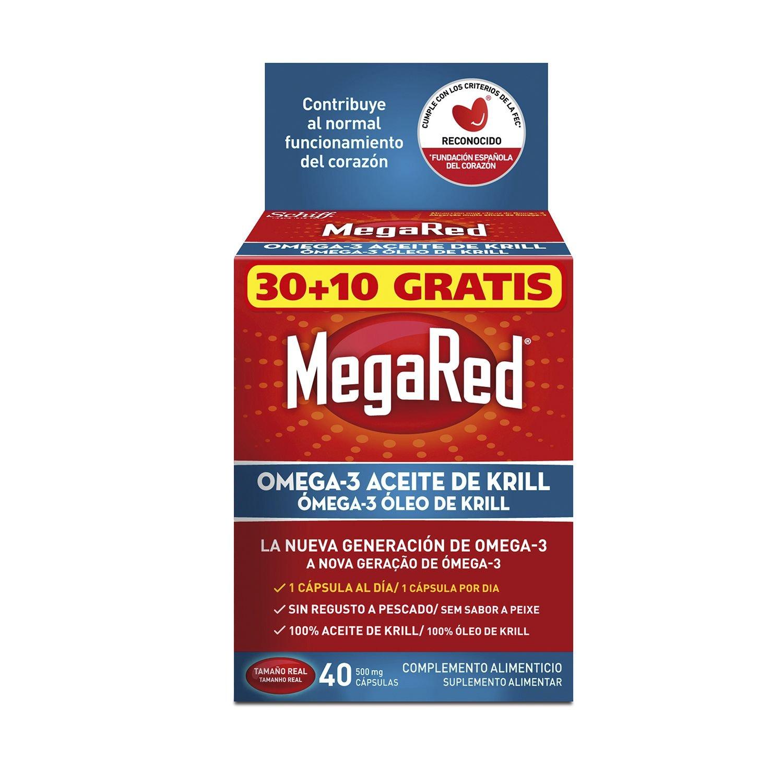 Megared Omega 3 - Aceite de Krill Complemento Alimenticio sin Regusto a Pescado 40 cápsulas: Amazon.es: Salud y cuidado personal