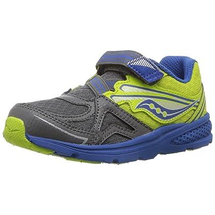 Saucony Boys' Baby Ride Sneaker (Toddler/Little Kid), Black/Lime, 11.5 W US Little Kid