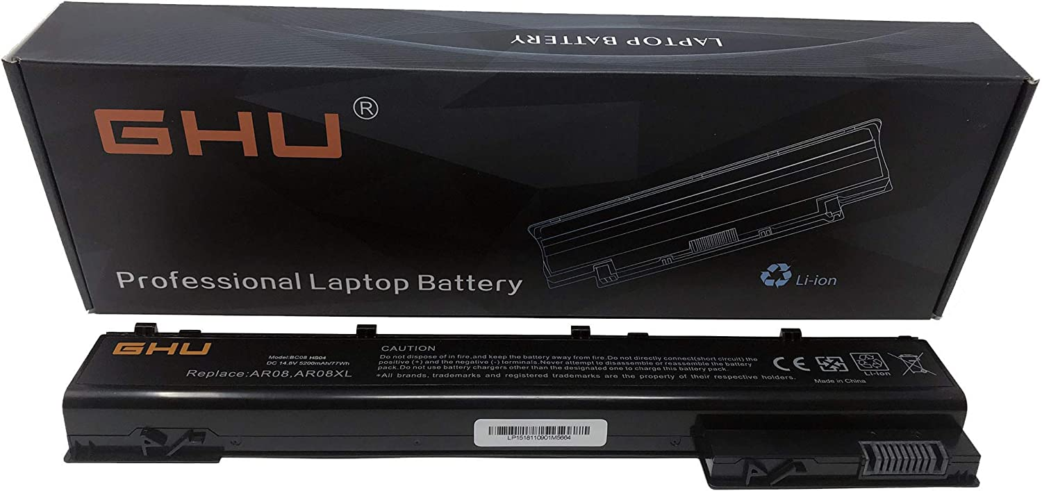 New GHU AR08 Battery Compatible with HP ZBook 15 17 Mobile Workstation Series HP ZBook 17 Series, Part NO. HSTNN-IB4H HSTNN-IB4I 708455-001 [8 Cells 14.8V 5200 mAh/77Wh] 12months Warranty