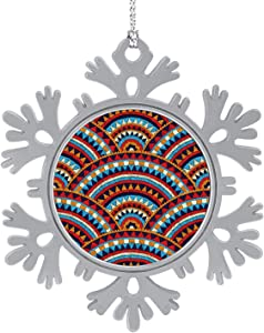 C COABALLA Seamless Wavy oidered Pattern. - Mexico,Hanging Ornament Decoration Kit,Hanging for Xmas Holiday Party Decor Peru 5PCS