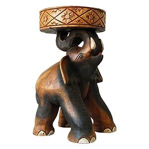 Tavolino elefante piedistallo, tavolino da caffè, sgabello, importato dalla Thailandia (10992)