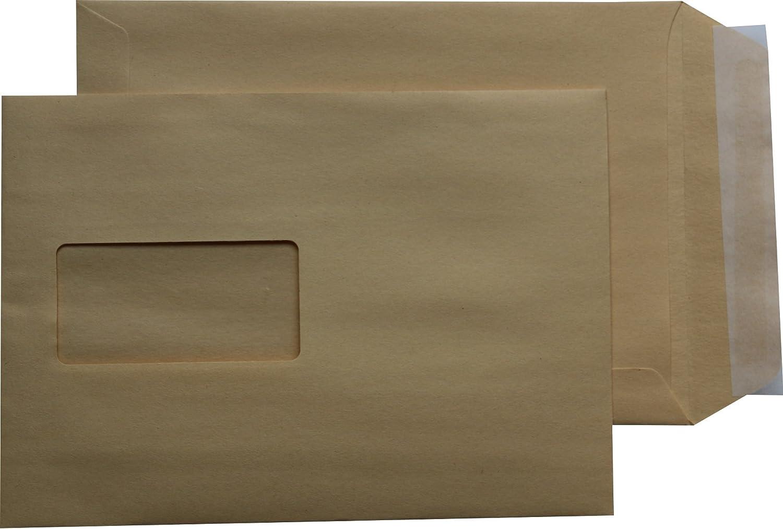Versandtaschen Briefumschl/äge C5 A5 braun haftklebend mit Fenster 162 x 229 mm HK 100 St