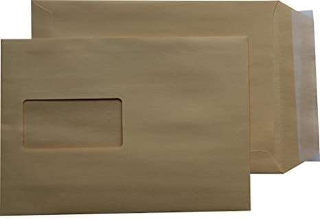 3000 Stück Versandtaschen DIN C4 mit Fenster 229 x 324 mm HK 90 g//m² BRAUN