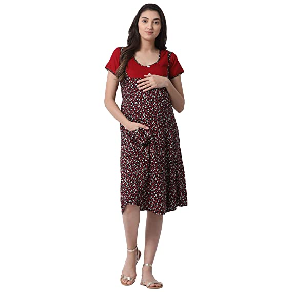 67c86ded74 GOLDSTROMS Minelli Women's Calf Length Rayon Fabric Maternity/Nursing/Feeding  Gown: Amazon.in: Clothing & Accessories
