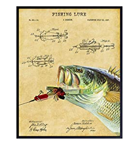 Fishing Patent Print - Fish Wall Art Poster - Rustic Vintage Home Decor for Beach or Lake House, Man Cave, Living Room, Office - Gift for Bass Fishermen, Anglers - 8x10 Photo Unframed