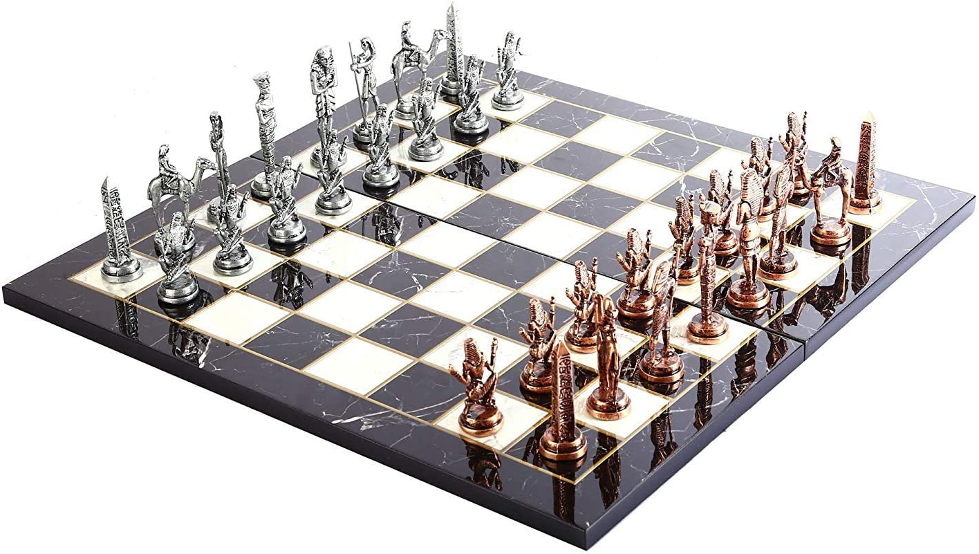 GiftHome - Juego de ajedrez de Metal con Figuras Antiguas de Cobre para Adultos, Piezas Hechas a Mano y diseño de mármol, Tablero de ajedrez de Madera, King 3.4 Pulgadas: Amazon.es: Hogar