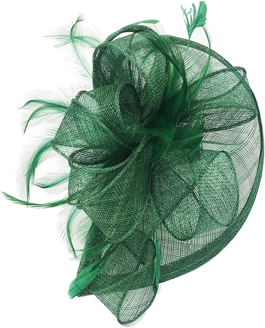 Sinamay Fascinator Hat Mesh Net Feather Cocktail Party Hat Flower Derby Hat for Women