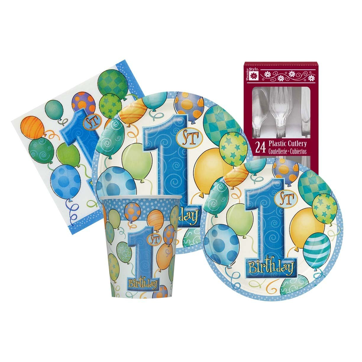 Amazon.com: 1st Birthday Party Blue Balloon Themed Supply Kit For Boys Serves 8: Toys & Games