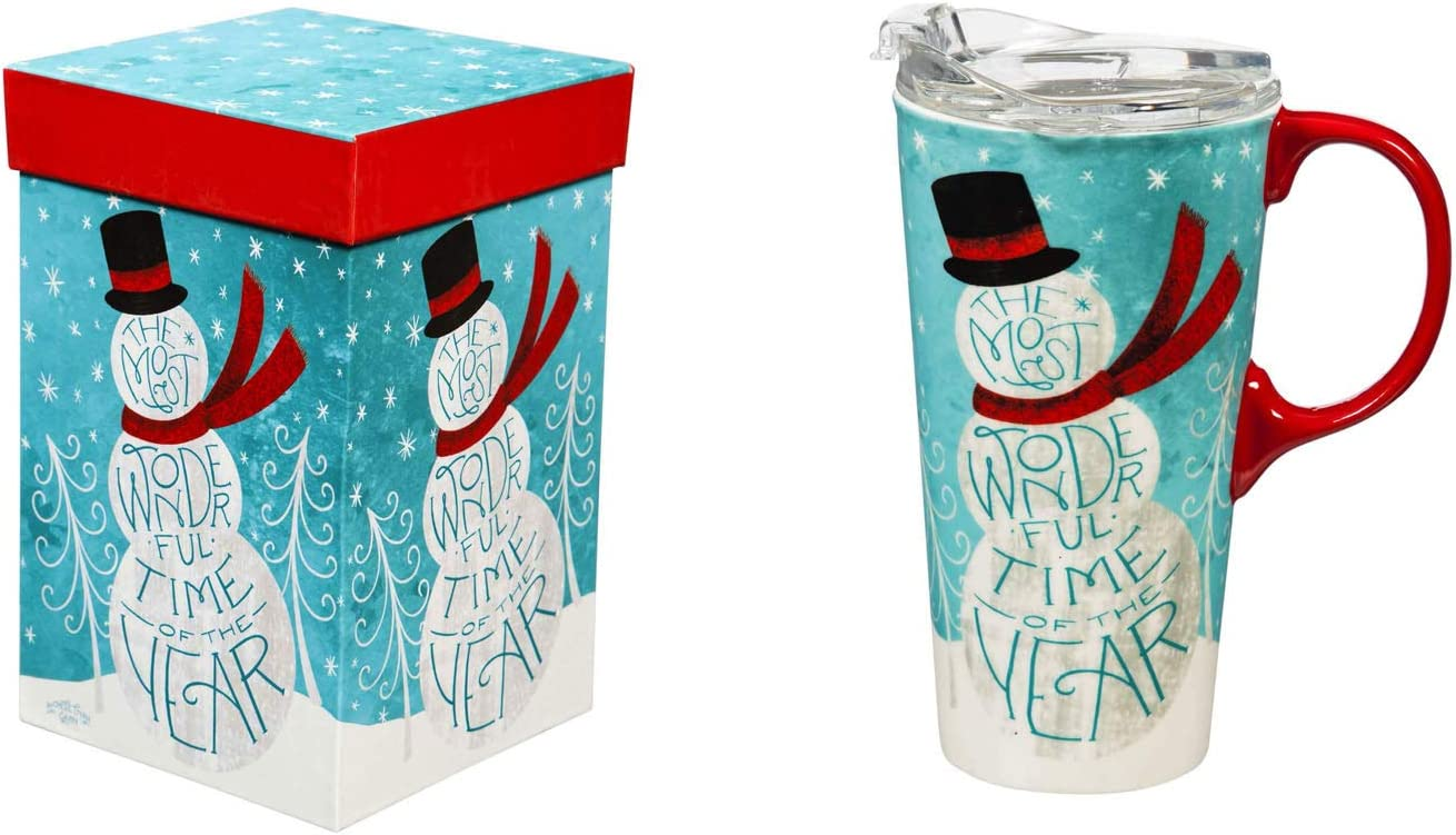Cypress Home Beautiful Most Wonderful Time of Year Ceramic Travel Cup with Tritan Lid and Matching Box - 4 x 5 x 7 Inches Indoor/Outdoor home goods For Kitchens, Parties and Homes