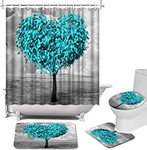 Teal Blue Tree Shower Curtain Sets with Rugs, Toilet Lid Cover and Bath Mat Heart Shape Tree