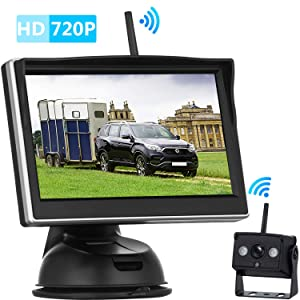 iStrong HD 720P Digital Wireless Backup Camera and 5'' Monitor Kit for Trailers/RVs/Pickups/Vans/Trucks/Motorhomes Rear View/Front View Camera IP69 Waterproof Guide Lines ON/Off