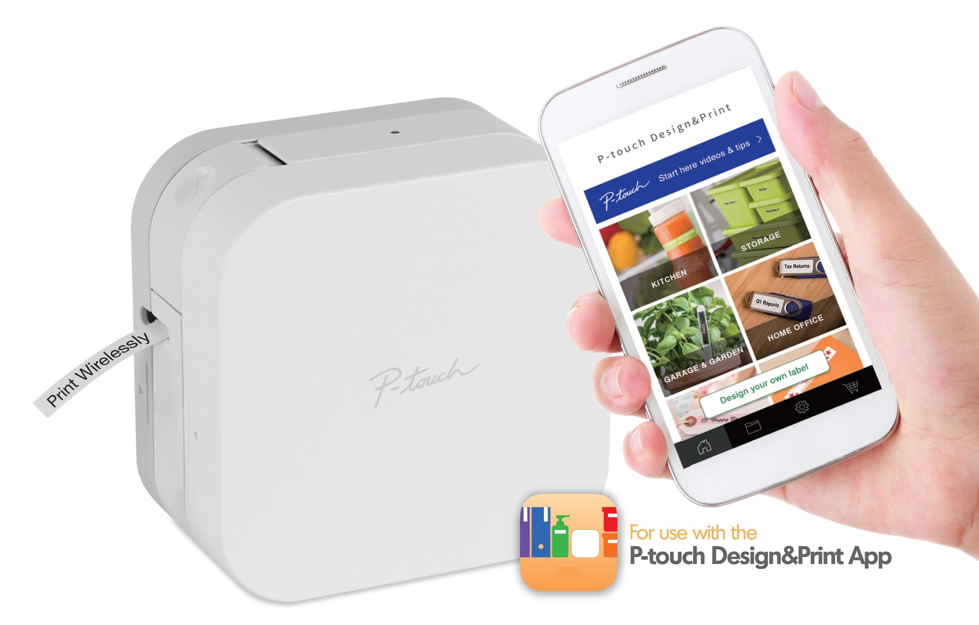 Brother P-Touch Cube Smartphone  Label Maker, Bluetooth Wireless Technology, Multiple Templates Available for Apple & Android Compatible - White by Brother