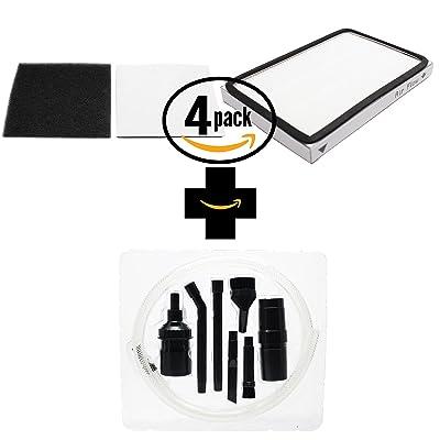 4-Pack de remplacement Kenmore 11625915503Aspirateur HEPA et filtre en mousse avec 7pièces Micro sous vide kit de fixation–Compatible Kenmore 86889, filtre à Ef-1et 86883, Cf-