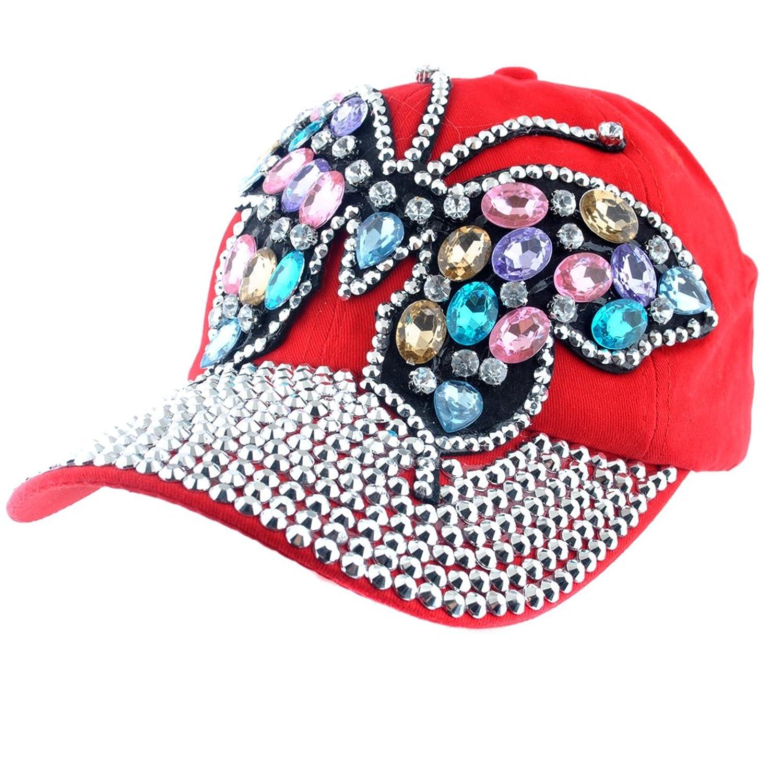 b8e3b4bab8c Elonmo Cute Big Butterfly Baseball Cap Jewel Rhinestone Bling Hats Jeans  Wash Denim