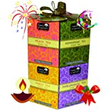 Happy Elephant Hexagon Gift Box 96 Tea Bag 12 Assorted Exotic Flavours - Masala Chai, Peach, Passion Fruit, Cranberry, Blueberry, Apple Cinnamon, Earl Grey, Mango, Pomegranate, Relaxing & Stimulating Teas