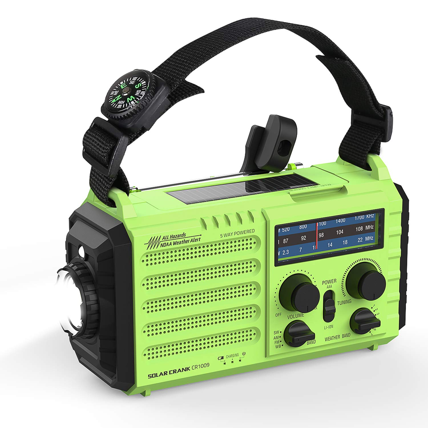 OnLyee Weather Radio, Emergency Solar Hand Crank Portable Radio 5-Way Power Sources AM/FM/SW/NOAA Weather Radio with LED Flashlight, Reading Lamp, 2000mAh Power Bank USB Charger and SOS Alarm by OnLyee