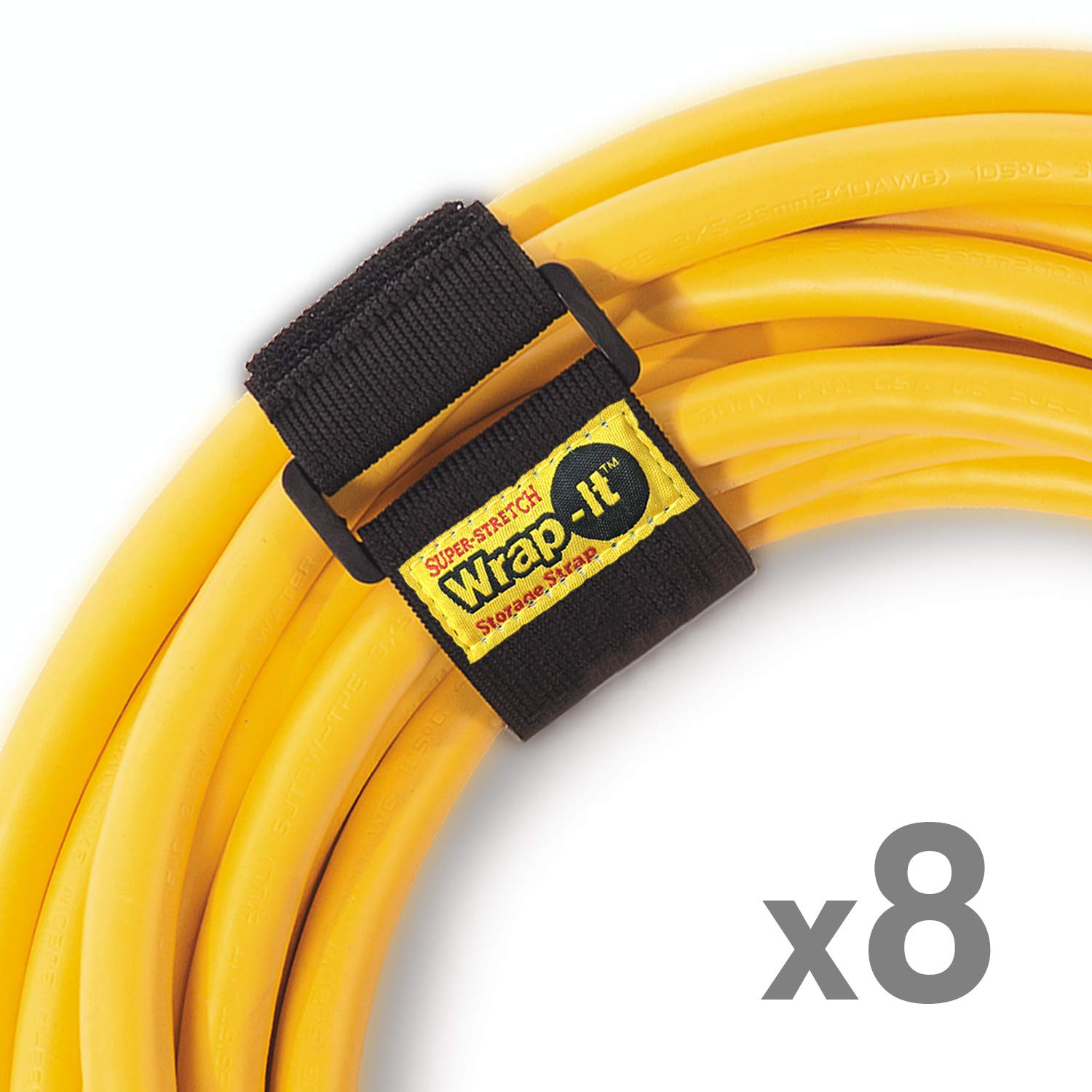 Wrap It Super-Stretch Storage Straps (12'' 8 Pack) - Elastic Hook & Loop Cinch Strap Organizer for Extension Cords, Hoses, Rope & More - Garage, Home, Shop, Shed, Truck, Boat, Marine & RV Organization