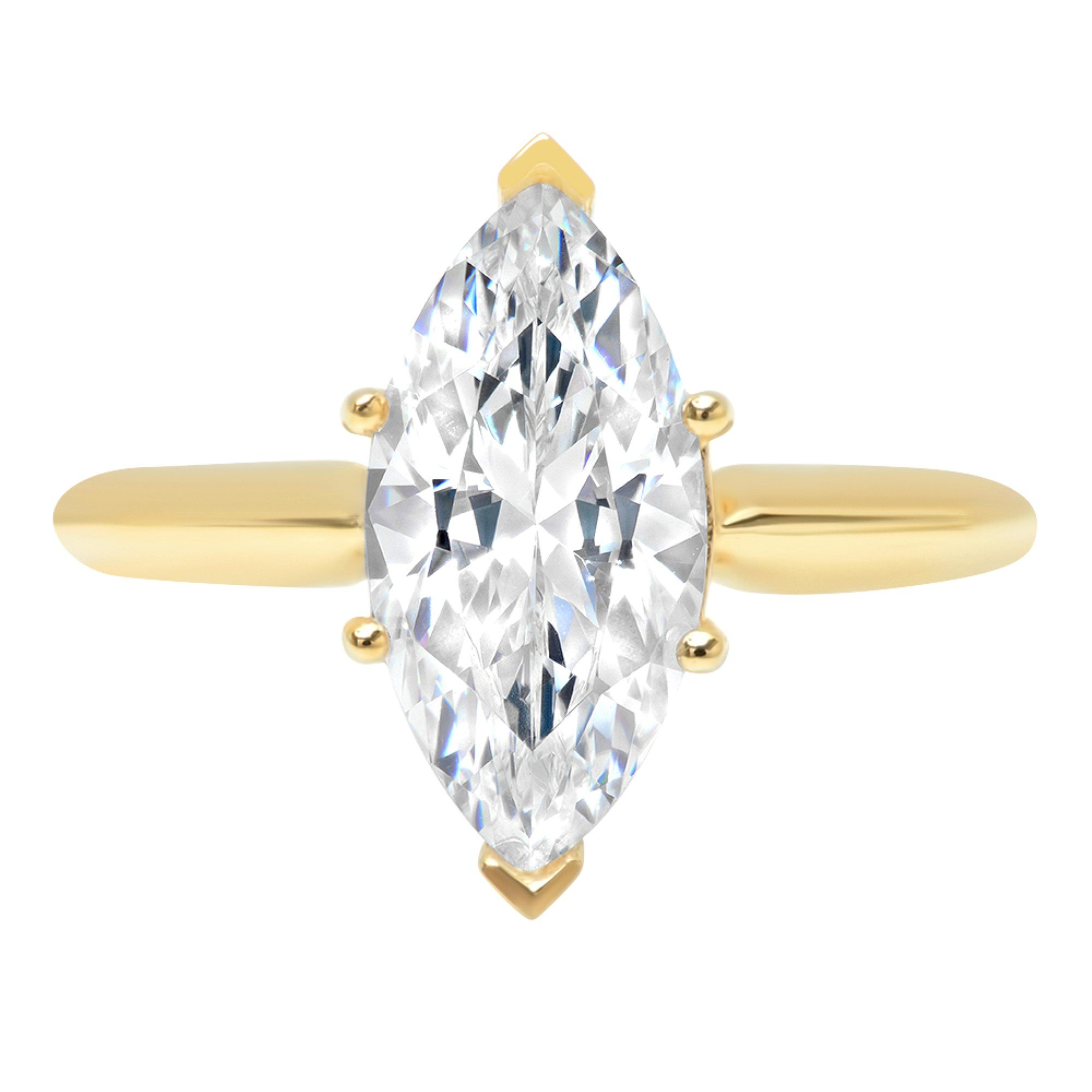Marquise Brilliant Cut Classic Solitaire Designer Wedding Bridal Statement Anniversary Engagement Promise Ring Solid 14k Yellow Gold, 2.7ct, 6.5 by Clara Pucci (Image #1)