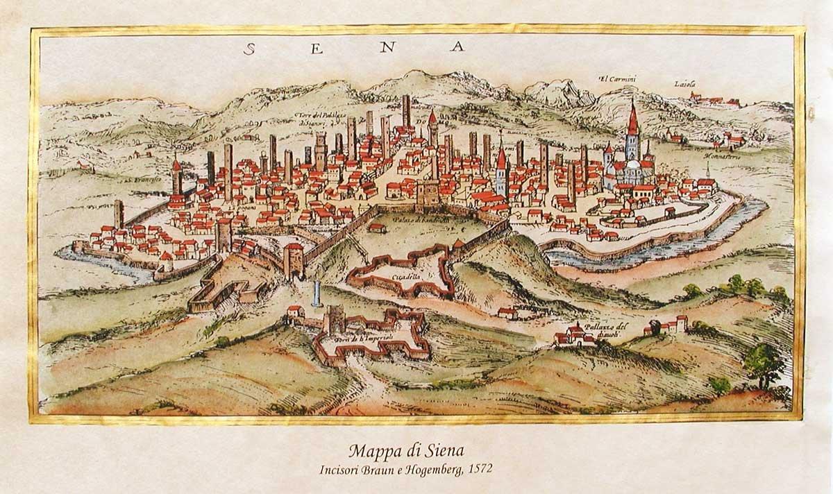 Stampa d'Arte - Mappa di Siena, 1572 - 42x30 Su carta antica - Stampata e dipinta a mano Florenceprints
