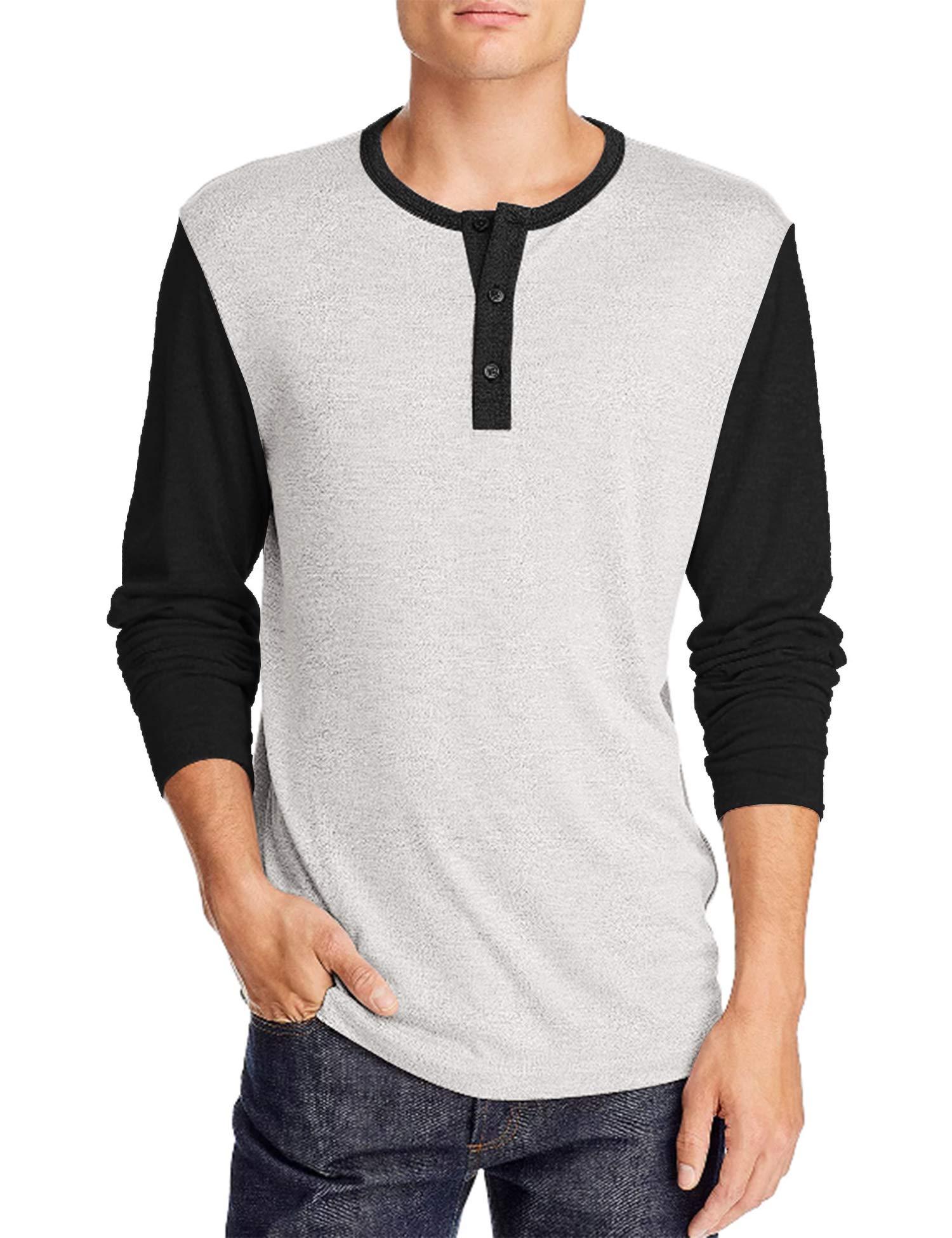 COOFANDY Men's Long Sleeve Athletic Henley Shirt Active Jerseys Tee Regular Fit T-Shirt Grey Black XL