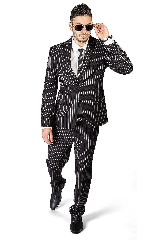 AZAR MAN Slim Fit 2 Button Notch Lapel Pinstripe Suit Flat Front Pants 1688 by