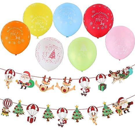 Decorazioni Di Natale Disegni.Kesote Set Di 2 Festoni Natalizi 60 Palloncini Di Colori