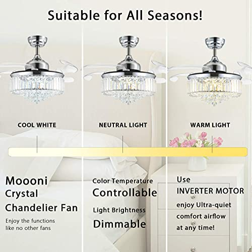 Moooni Dimmable Fandelier Crystal Ceiling Fan