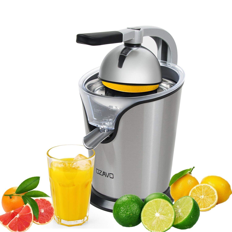 OZAVO Exprimidor Eléctrico para Frutas/Zumos de 100W, Filtro de Acero Inoxidable con Brazo de Palanca para Citricos/Naranjas,Sistema Anti Goteo, ...