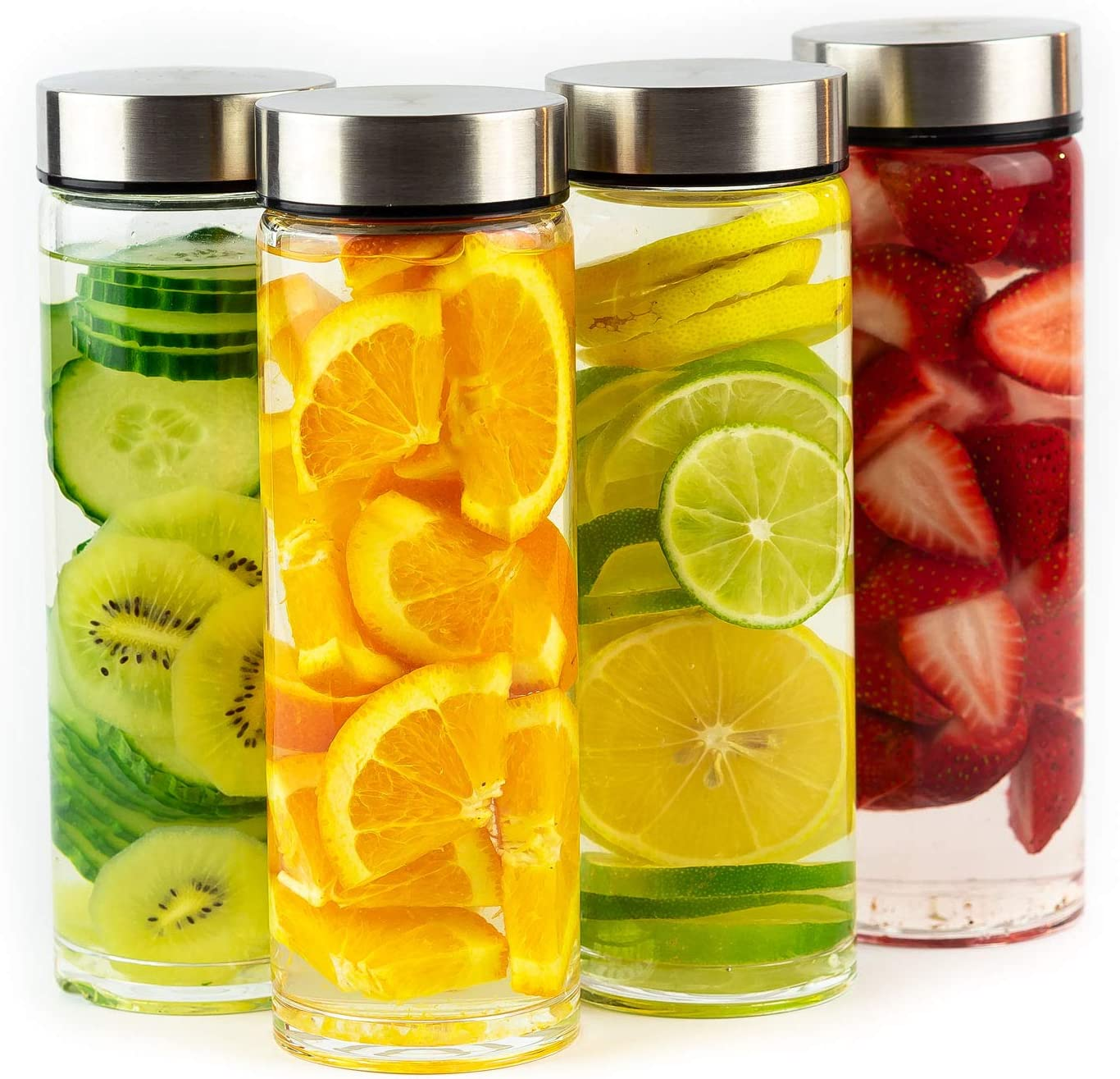 Juice Bottles - 4 Pack Wide Mouth Glass Bottles with Lids - for Juicing, Smoothies, Infused Water, Beverage Storage - 16oz, BPA Free, Stainless Steel Lids, Leakproof, Reusable, Borosilicate