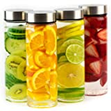 Juice Bottles - 4 Pack Wide Mouth Glass Bottles with Lids - for Juicing, Smoothies, Infused Water, Beverage Storage - 16oz, B