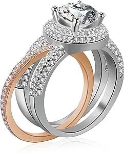 Uloveido Conjunto de 2 Anillos chapados en Oro Rosa para Boda con Piedras de circón cúbico para Compromiso de Mujeres RA0218
