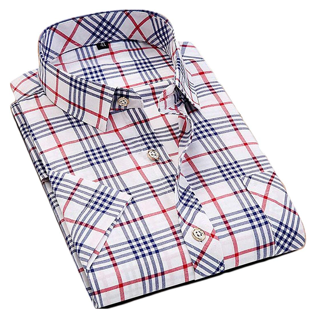 Nanquan Men Casual Button up Short Sleeve Non-Iron Slim Fit Plaid Print Shirt
