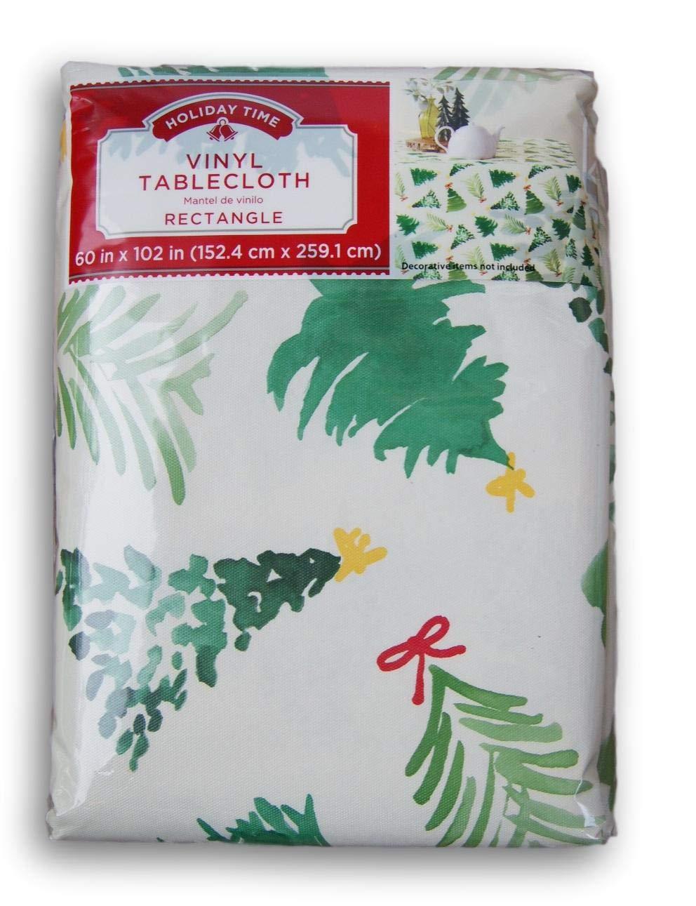 60 x 102 Stylish Christmas Evergreen Trees Vinyl Tablecloth