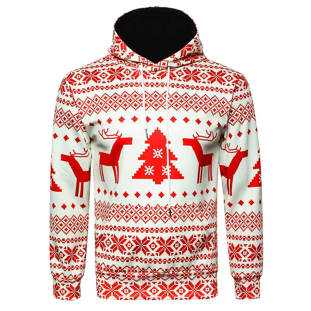 GREFER Men Women Sweartshirt New Christmas Long Sleeve Hooded Pullover Coat by GREFER