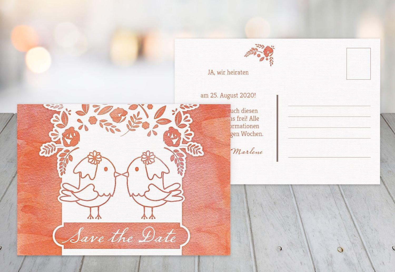 Save-the-Date Vogelpaar - Frauen, 80 Karten, MattGrün B07B6NN1XW | Moderne und stilvolle Mode  | Ausreichende Versorgung  | Charmantes Design
