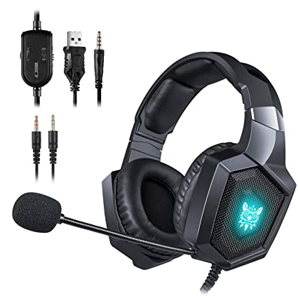 ONIKUMA Gaming Headset - Updated K8 Headset Gaming for PS4 New Xbox One,  Stereo Over-Ear Headphones & Noise-canceling Microphone with Mic for PC