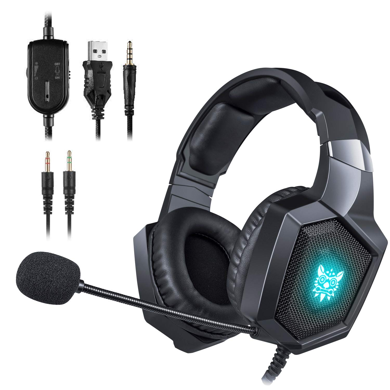ONIKUMA Gaming Headset - Updated K8 Headset Gaming for PS4 New Xbox One, Stereo Over-ear Headphones & Noise-canceling Microphone with Mic for PC Computer Mac Laptop Nintendo Switch Games (Black)