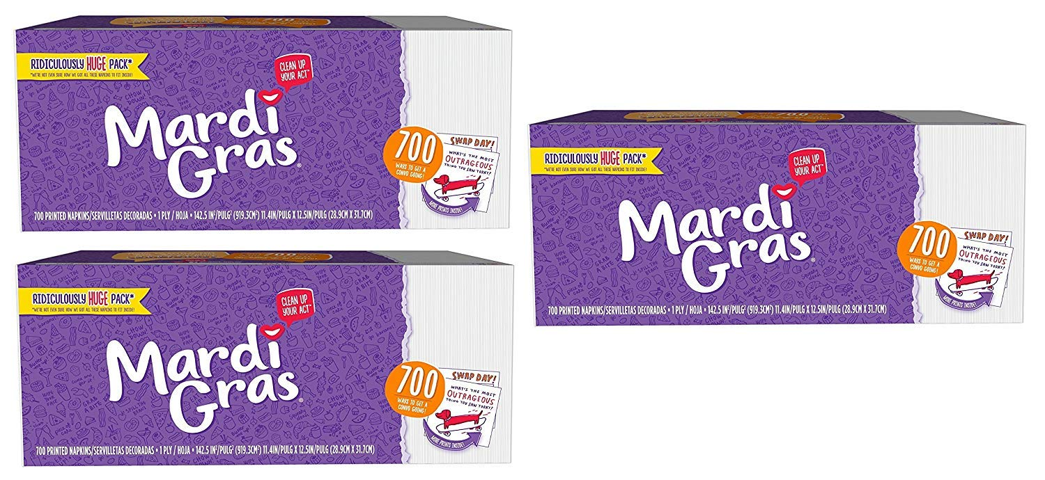 Mardi Gras Napkins 700ct with Conversation Starter Prints! (Pack of 3) Made in USA