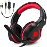 ZJEGO SL-100 3.5mm Game Gaming Headphone Headset Earphone Headband with Microphone LED Light for Laptop Tablet Mobile PhonesMobile phones or PS4 XBOX ONE (Blue)