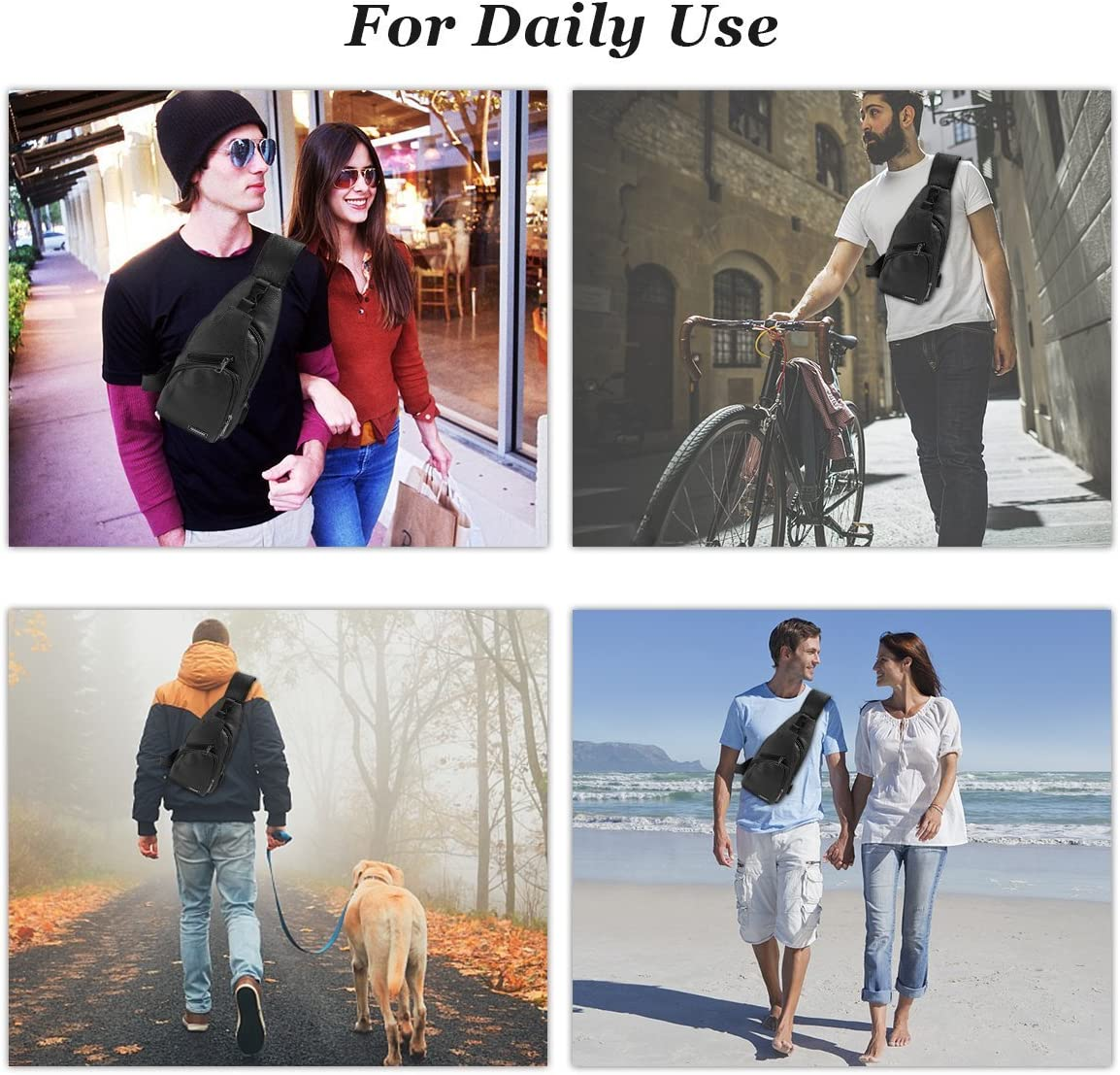 Travel Shoulder Cross Body Bag Sling Backpack Multipurpose Daypack Chest Bag with USB black