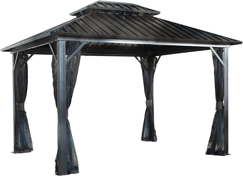 Sojag 500-9165074 Genova Gazebo, Color Negro, marrón: Amazon.es: Jardín