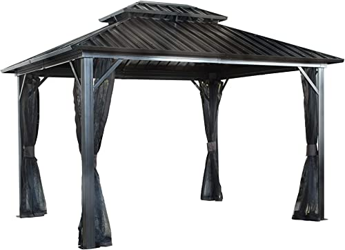 Sojag 12' x 16' Genova Double Roof Hardtop Gazebo 4-Season Outdoor Sun Shelter