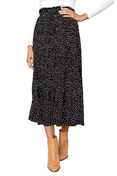 PRETTYGARDEN Women s Fashion High Elastic Waist Polka Dot Printed Pleated  Midi Vintage Skirts with Pockets 77dc08aa9859