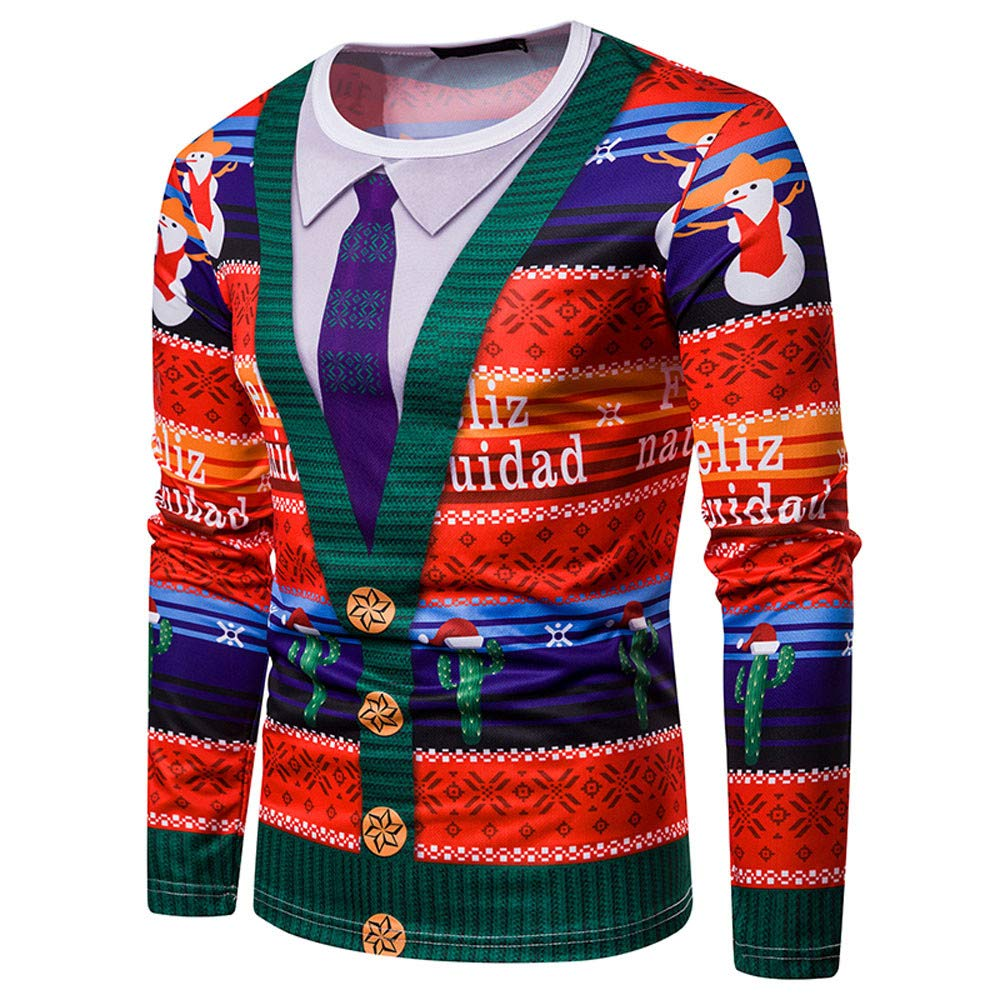 Amazon.com: Easytoy Mens Ugly Christmas X-mas Cardigan T Shirt with Tie Sweater Long Sleeve Shirt: Sports & Outdoors