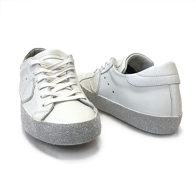 7b7c6eff1b0f Philippe Model Damen Sneaker Low Paris Glitter L D Veau Blanc Argent - Hochwertige  Designer Sneaker Aus Leder und Glitzer-Sohlenrand - Weiß, ...