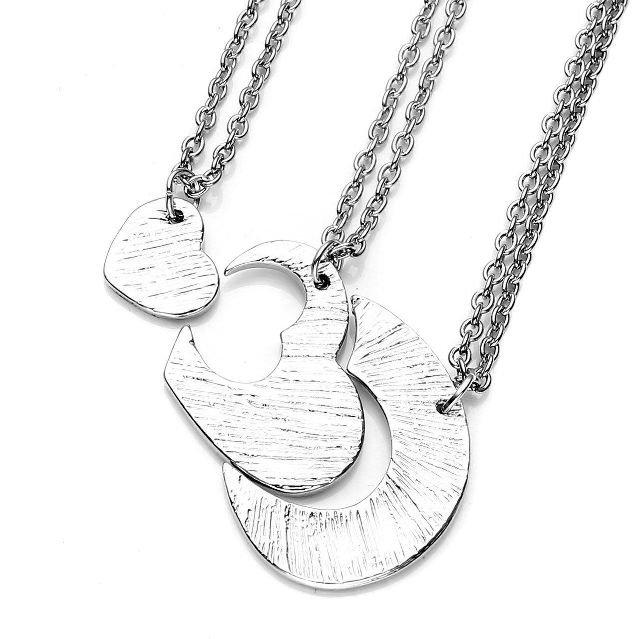 PiercingJ - 3PCS Bijoux Collier Pendentif Puzzle Coeur Detachable Separable Sœur Sister Amitié Familier Alliage Avec 3 Chaines de Fer Argent